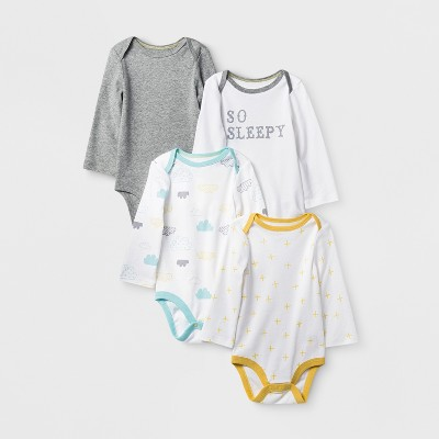 Baby 4pk Long Sleeve Bodysuit White/Heather 6-9M - Cloud Island™