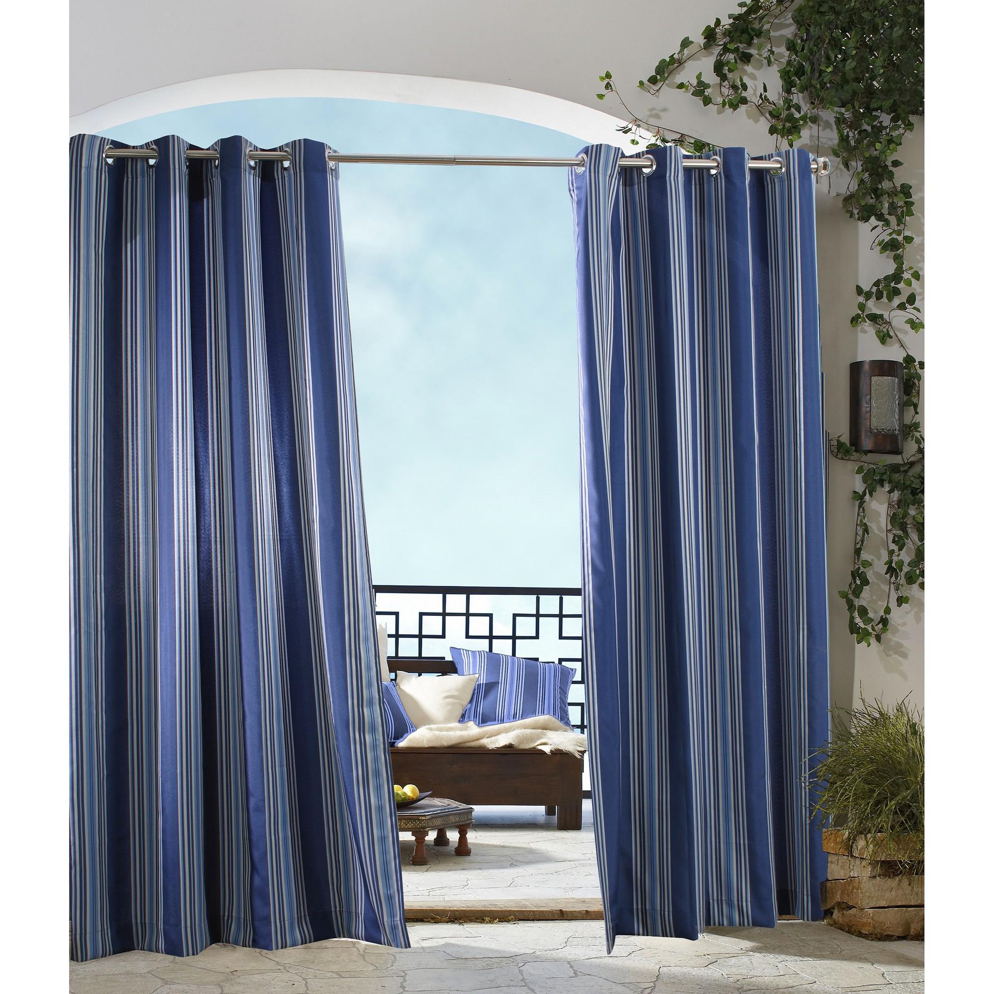 'Outdoor Décor Gazebo Stripe Indoor/Outdoor Grommet Top Curtain Panel - Blue (50''x96''), Size: 50x96'''