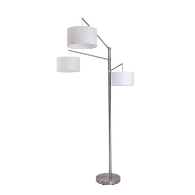 Straight 3 Arm Arc Floor Lamp Brushed Nickel (Includes LED Light Bulb) - Project 62™
