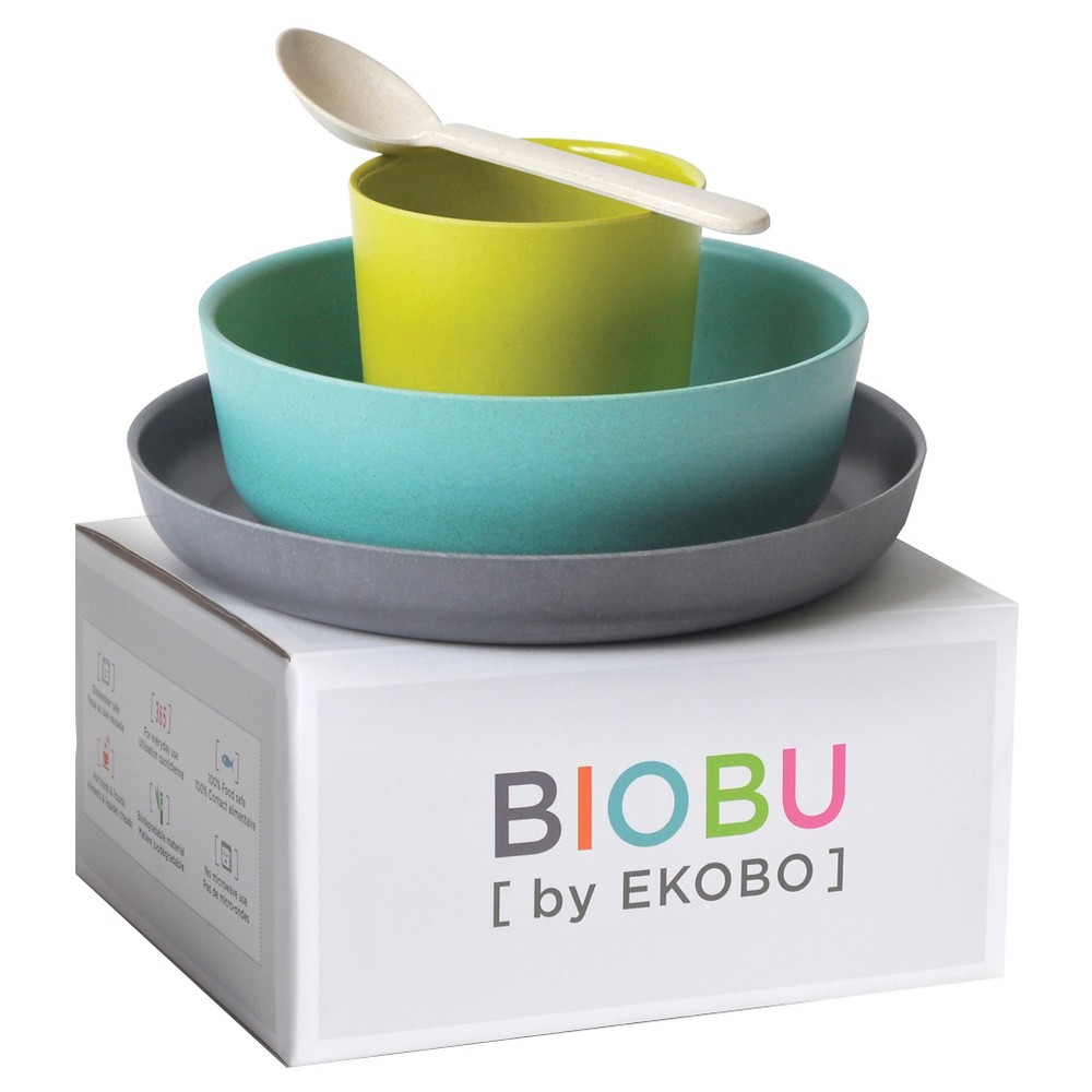 Image of Biobu by Ekobo Bambino Kid's Feeding Set - 4pc, Blue
