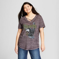 2f7d002c035a8 Women's Plus Size Free Bird Short Sleeve Criss Cross V-Neck Graphic T-Shirt