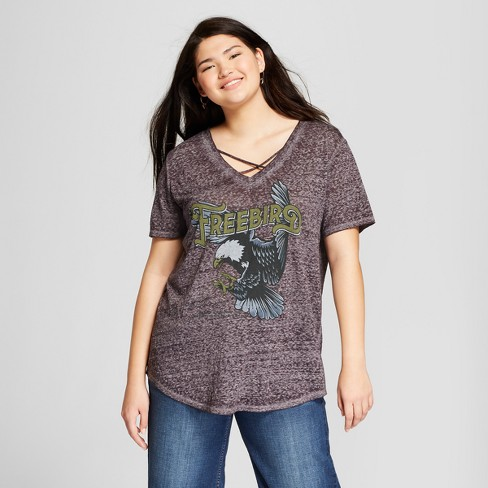 5a303f4a0fa Women s Plus Size Free Bird Short Sleeve Criss Cross V-Neck Graphic T-Shirt  - Lyric Culture (Juniors ) Charcoal Gray