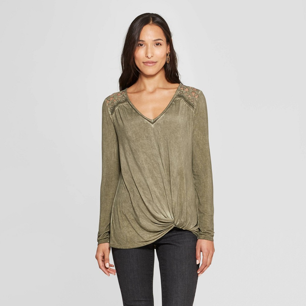 Women's Long Sleeve V-Neck Top - Knox Rose Olive (Green) Xxl