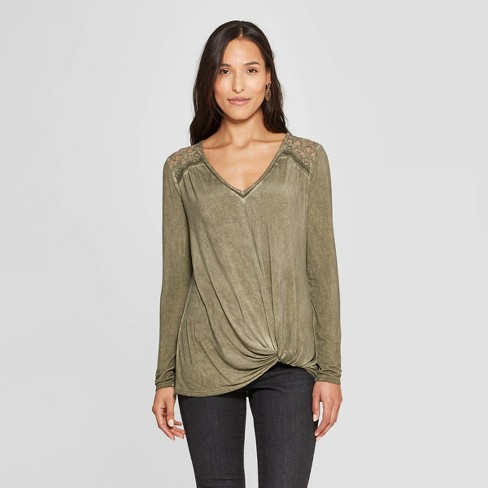 Women's Long Sleeve V-Neck Top - Knox Rose™ Olive XS - image 1 of 2