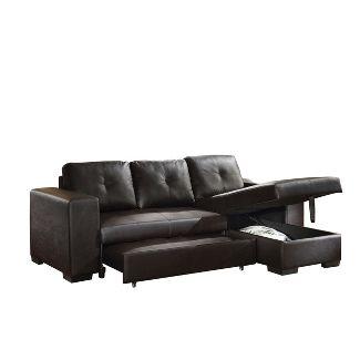 Lloyd Sectional Sofa Black Faux Leather - Acme