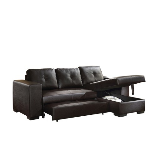 Awesome Lloyd Sectional Sofa Black Faux Leather Acme Uwap Interior Chair Design Uwaporg