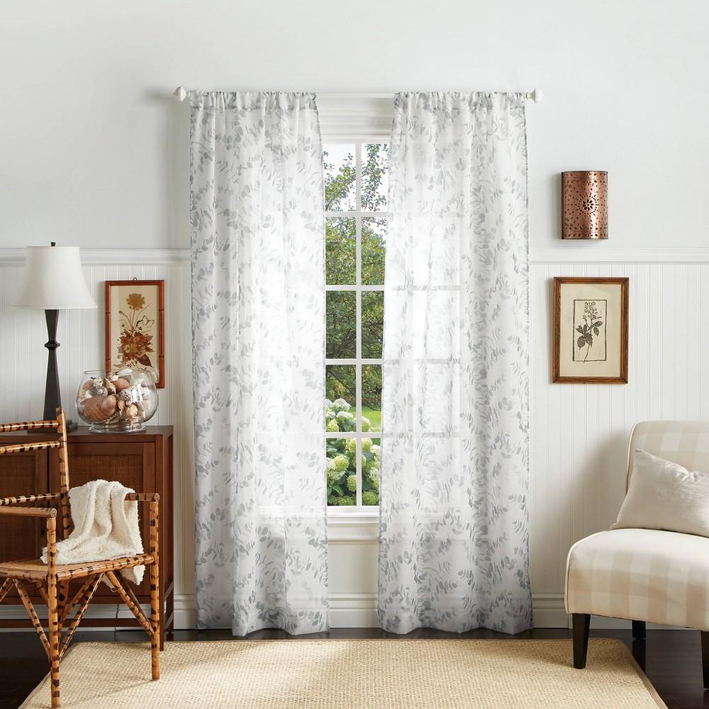 "Image of ""Set of 2 95""""x37"""" Eucalyptus Sheer Curtain Panels Gray - Martha Stewart"""