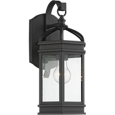 "John Timberland Traditional Outdoor Wall Light Fixture Textured Black 15 3/4"" Clear Glass Lantern Exterior House Porch Patio Deck"