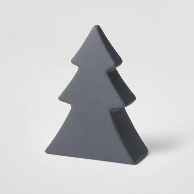 6in Ceramic Christmas Tree Decorative Figurine Dark Gray - Wondershop™