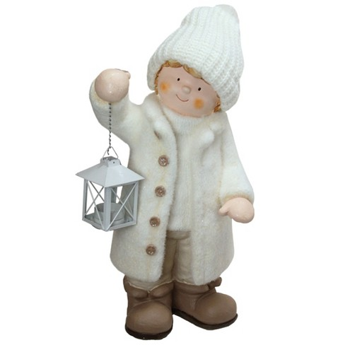 """Northlight 18"""" Winter Boy in White Holding a Tealight Lantern Christmas Table Top Figure - image 1 of 1"""
