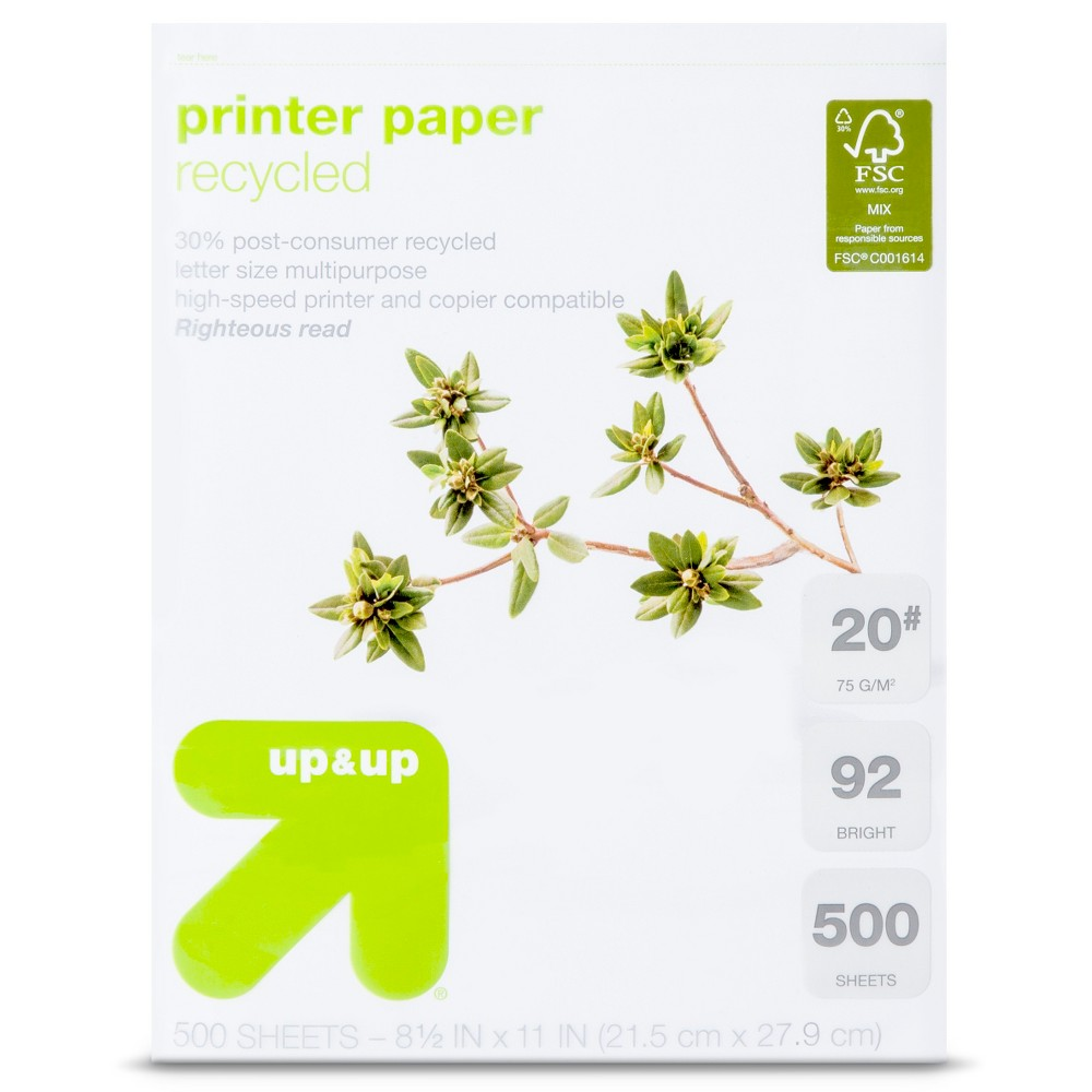 Image of Recycled Printer Paper Letter Size 20# 500ct White - Up&Up