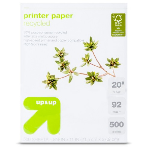 Recycled Printer Paper Letter Size 20# 500ct White   Up&Up™ : Target