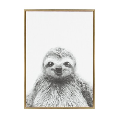Kate & Laurel 33 x23  Sylvie Sloth Animal Print And Portrait By Simon Te Tai Framed Wall Canvas Gold