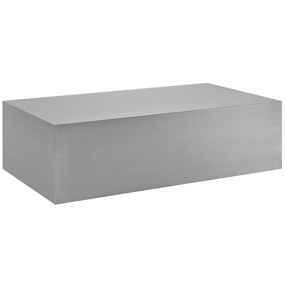 Cast Stainless Steel Coffee Table Silver - Modway