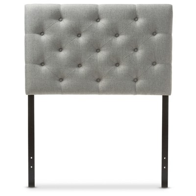 Viviana Modern And Contemporary Fabric Upholstered Button - Tufted Headboard - Twin - Gray - Baxton Studio