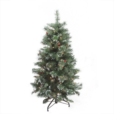 Northlight 4' Pre-Lit Frosted Mixed Pine Medium Artificial Christmas Tree - Clear Lights