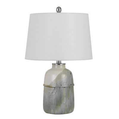 """24"""" Ceramic Table Lamp with Hardback Fabric Shade Pale Mint Green - Cal Lighting"""