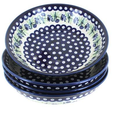 Blue Rose Polish Pottery Sweet Annie 4 PC Large Salad Bowl Set