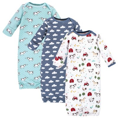 Hudson Baby Infant Boy Quilted Cotton Long-Sleeve Gowns 3pk, Boy Farm Animals, 0-6 Months
