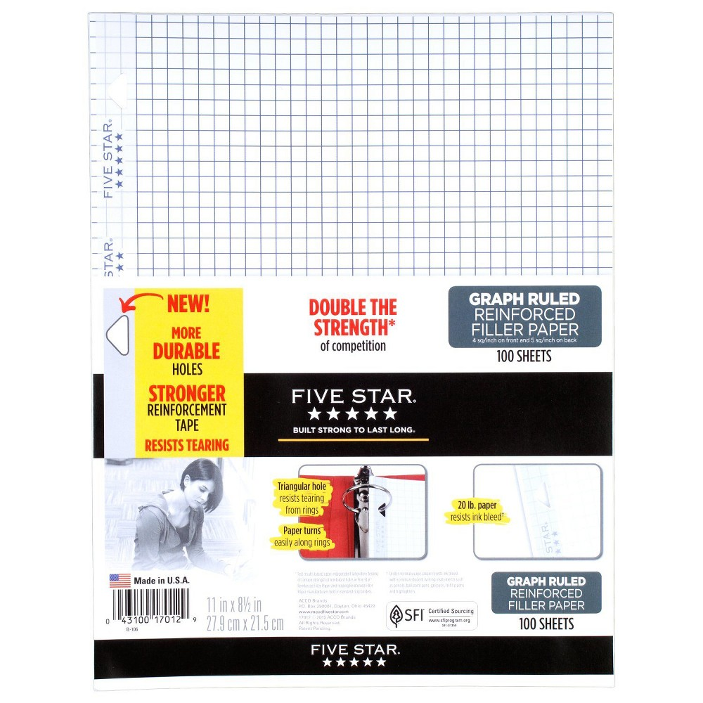 Image of Five Star 100ct Graph Ruled Reinforced Filler Paper