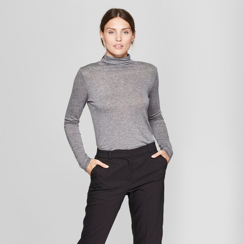 Women's Long Sleeve Mock Neck T-Shirt - Prologue Gray S