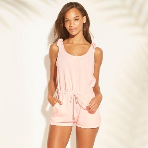 0ea83bd77b Women's Terry Shoulder Tie Cover Up Romper - Xhilaration™ Blush : Target