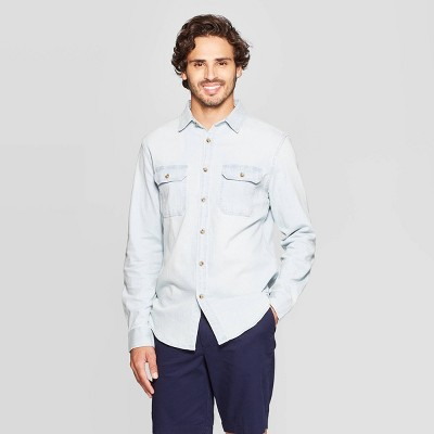 Men's Standard Fit Stretch Denim Long Sleeve Button-Down Shirt - Goodfellow & Co™