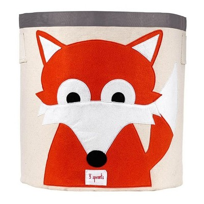 Fox Canvas Extra Large Round Kids Storage Bin - 3 Sprouts