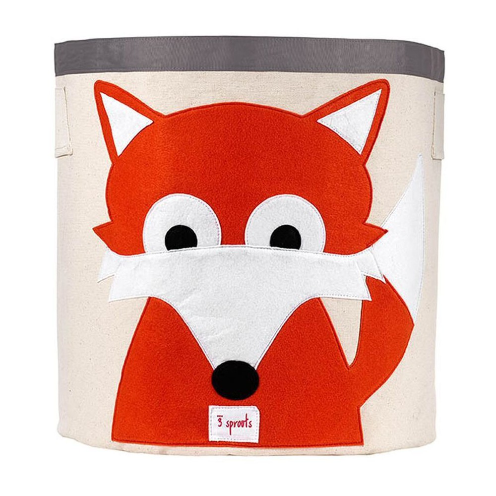 Image of Extra Large Round Fox Canvas Kids Toy Storage Bin - 3 Sprouts