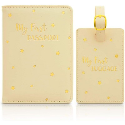 Zodaca 2 Pack My First Luggage Tag and RFID Passport Wallet Box Set for Kids, Stars Design (2 Sizes)