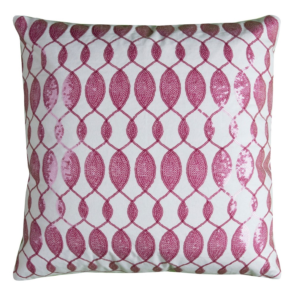 Image of Pink/Ivory Sequins Throw Pillow - (18x18) - Rizzy Home