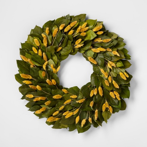 """21.2"""" Dried Lemon Leaves and Phalaris Grass Wreath Green - Smith & Hawken™ - image 1 of 1"""