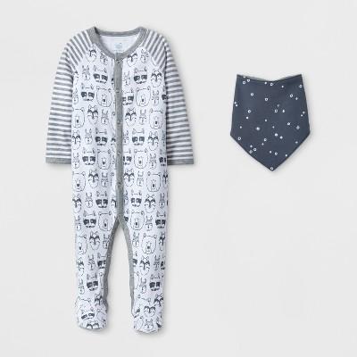Baby Animal and Stripe Sleep N' Play and Bib Set - Cloud Island™ Gray 0-3M