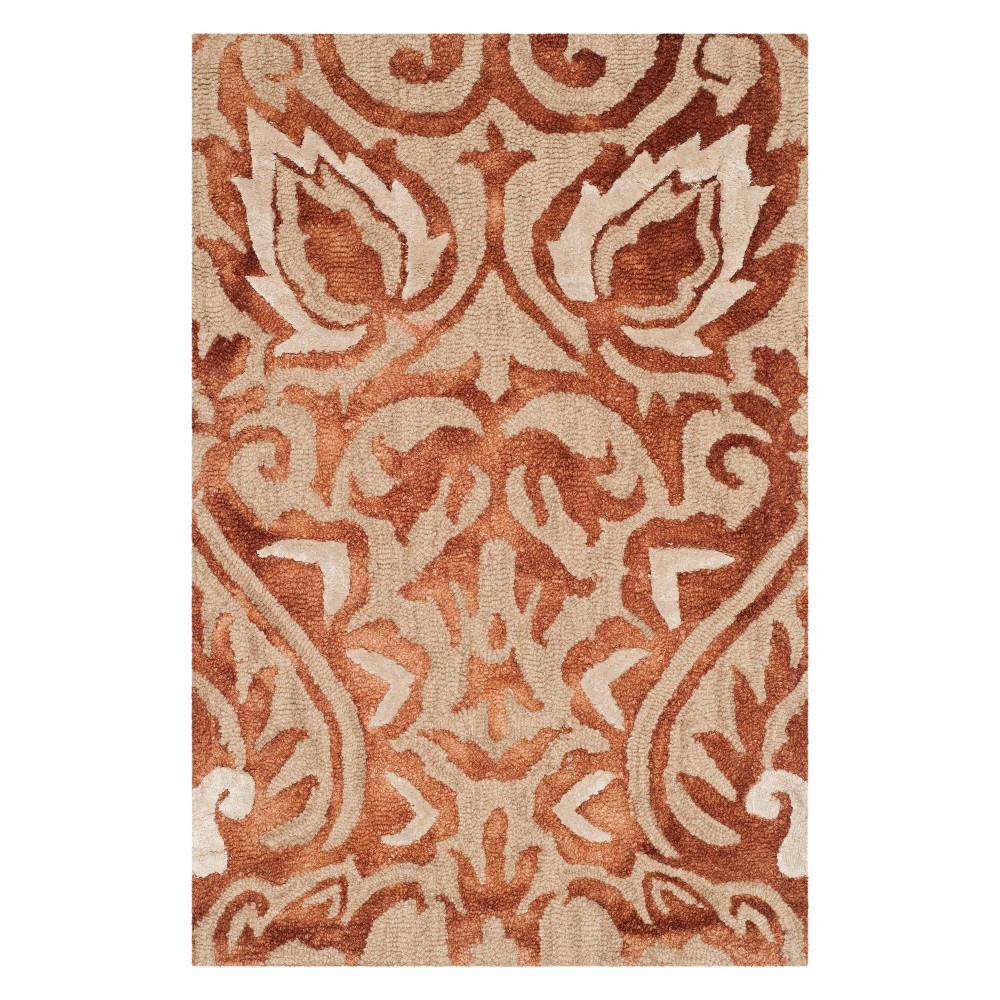 2'X3' Damask Tufted Accent Rug Copper/Beige (Brown/Beige) - Safavieh