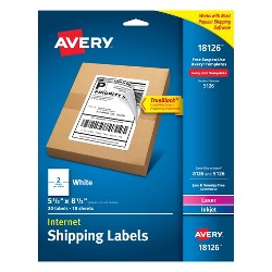 "Avery 5 1/2"" x 8 1/2"" 20ct Internet Shipping Labels - White"