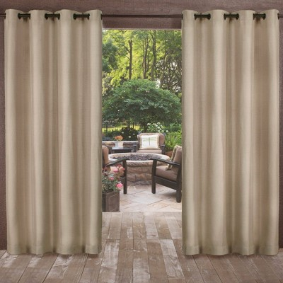 Biscayne Indoor/Outdoor Two-Tone Textured Room Darkening Window Curtain Panel - Exclusive Home