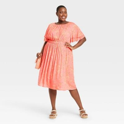 Women's Plus Size Short Sleeve Flutter Dress - Ava & Viv™