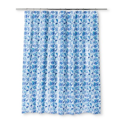 Color Block Shower Curtain Capri Blue Opaque - Room Essentials™