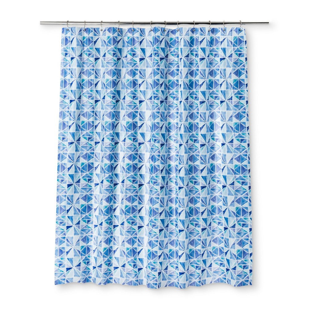 Color Block Shower Curtain Capri Blue Opaque - Room Essentials