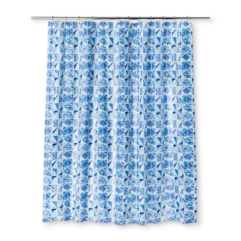 Color Block Shower Curtain Capri Blue Opaque