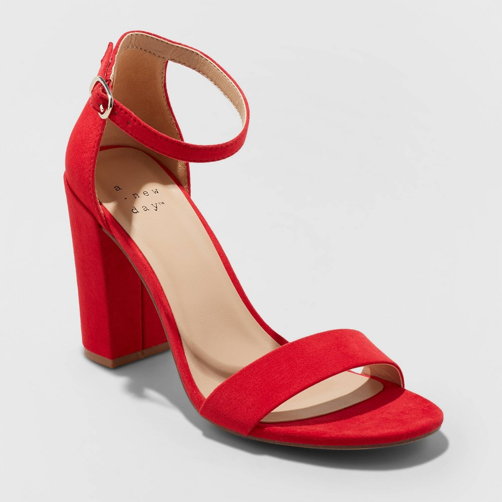 Brighten up your shoe selection with these Ema Microsuede High Block-Heel Sandal Pumps from A New Day™. These women\\\'s block-heel pumps sport a red microsuede exterior, easily adding a vibrant finish to all your outfits. The buckle closure on the ankle strap ensures a secure fit every time, and the 3.75-inch block heels add a touch of edgy flair. Designed with a band over the open toe, these women\\\'s pumps are great for pairing with a range of dresses, pants and summer outfits for versatile wear. Size: 7.5. Gender: female. Age Group: adult. Pattern: Solid.