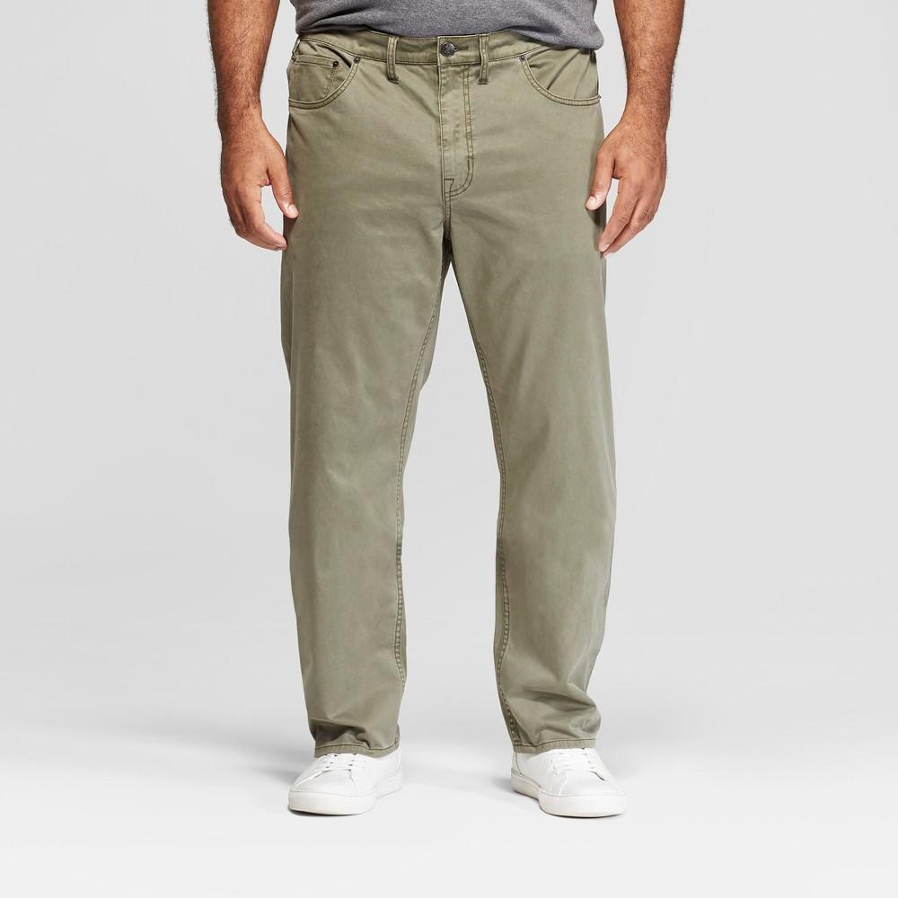 Men's Tall Slim Straight Fit Twill Pants - Goodfellow & Co Moss 42x36, Green