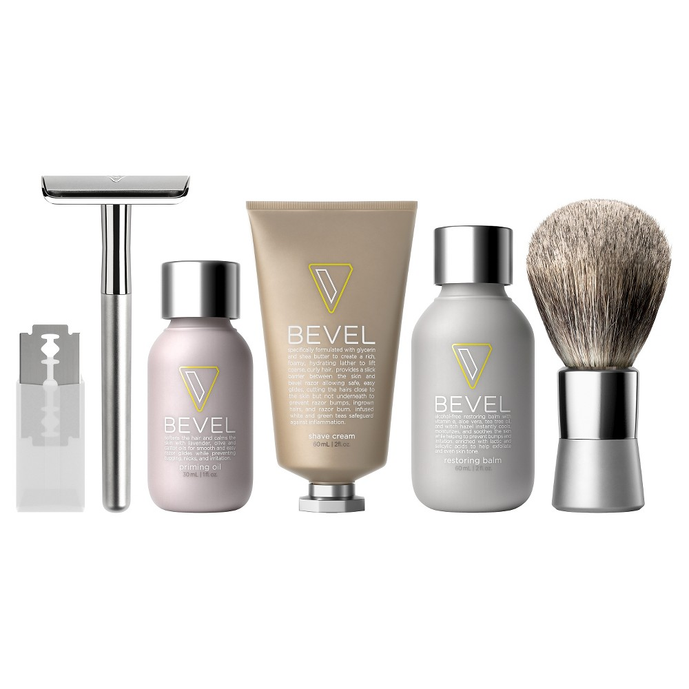 Designed to help reduce and prevent irritation and razor bumps, the Bevel Shave System Starter Kit includes the Bevel razor and blades, Bevel badger brush and a 30-day supply of Bevel priming oil, shave cream and restoring balm.