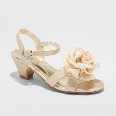 9085fc3b6c8 Girls  Flowers by Nina Toni Ankle Strap Sandals - Gold 3   Target