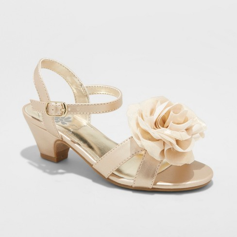 Girls' Flowers by Nina Toni Ankle Strap Sandals - Gold 1 - image 1 of 3