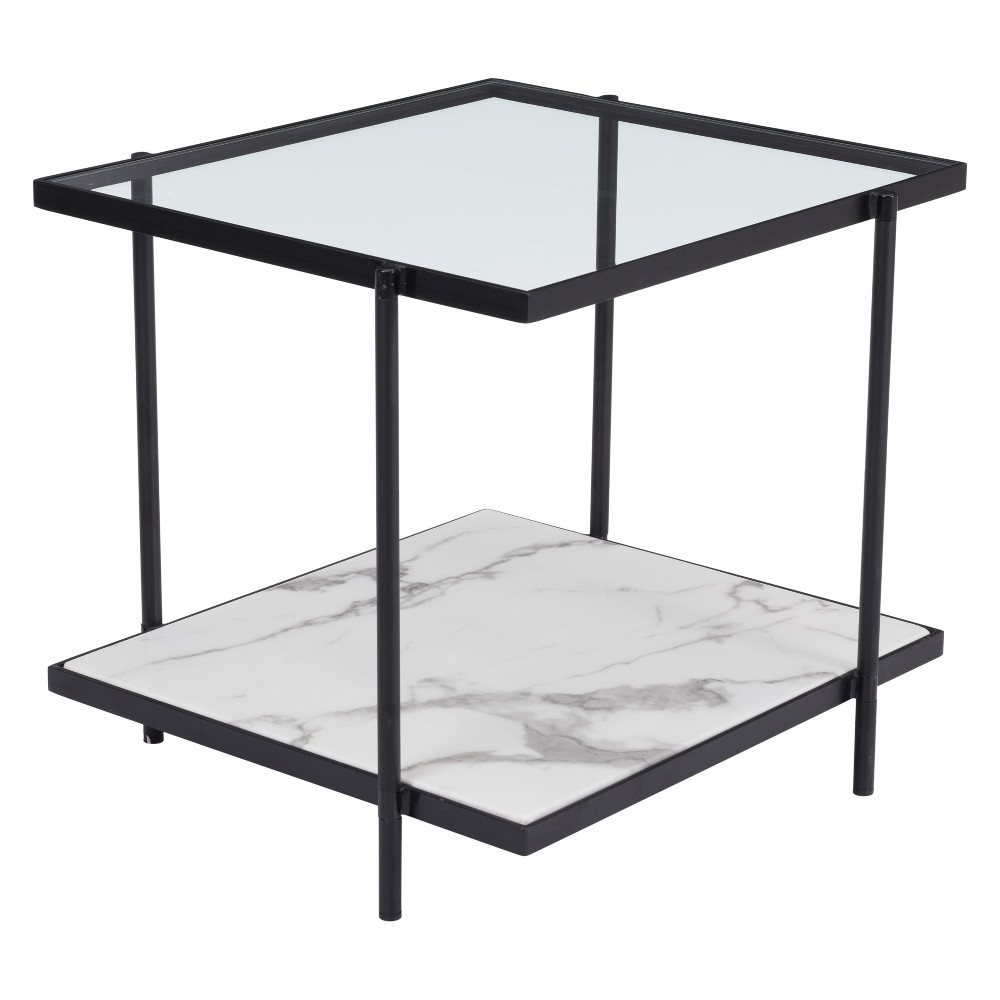 """Image of """"22"""""""" Modern Faux Marble End Table Matte Black - ZM Home"""""""