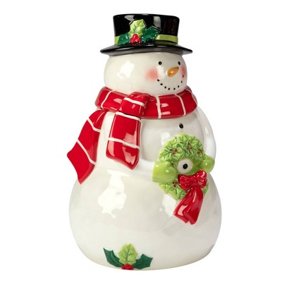 78oz Earthenware Holiday Magic Snowman 3-D Cookie Jar - Certified International