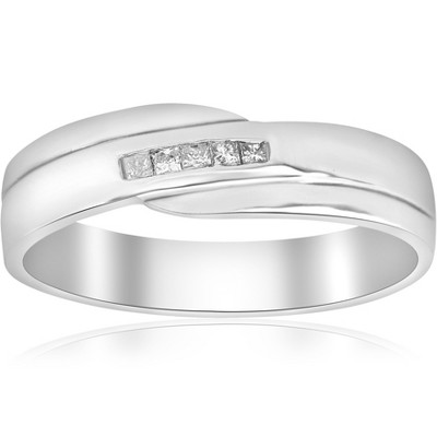 Pompeii3 Mens Princess Cut Diamond Wedding Ring White Gold High Polished Channel Set