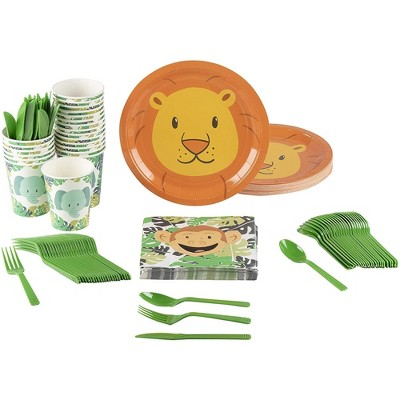 Animal Party Supplies - Serves 24 Zoo Jungle Theme for Birthday & Baby Shower, Includes Paper Plates, Napkin, Cups, Cutlery