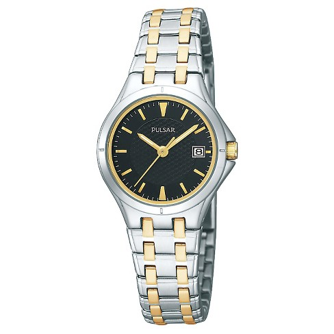 Women's Pulsar Dress Sport Watch  - Two Tone with Black Dial - PXT829 - image 1 of 1